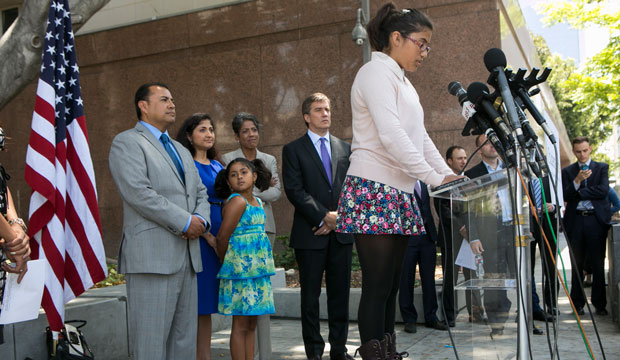 Student Julia Macias, a plaintiff, comments on the <i>Vergara v. California</i> lawsuit verdict in Los Angeles.