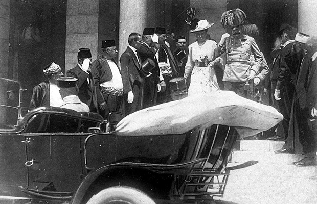 In this photo from June 28, 1914, Archduke Franz Ferdinand of Austria and his wife Sophie walk to their a car in Sarajevo minutes before their assassination.