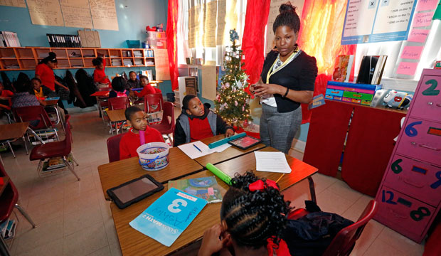 Chevonne Dixon, a fourth grade teacher, leads a class at Tunica Elementary School in Tunica, Mississippi.