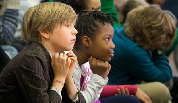 New York City schoolchildren listen as Mayor Bill de Blasio speaks