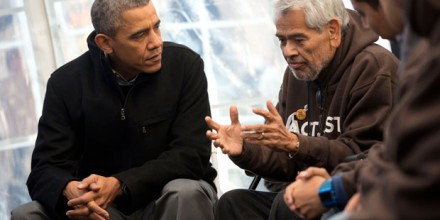President Barack Obama meets with individuals fasting for immigration reform