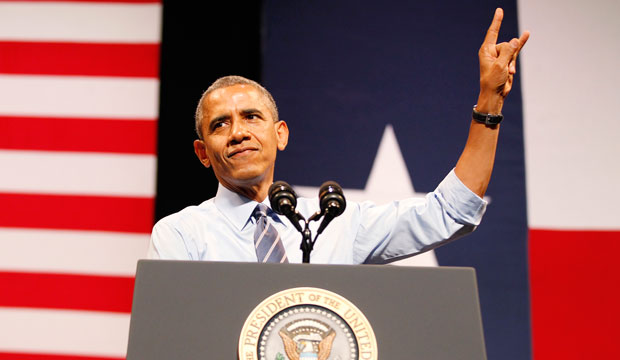President Barack Obama speaks at the Paramount Theatre in Austin, Texas.
