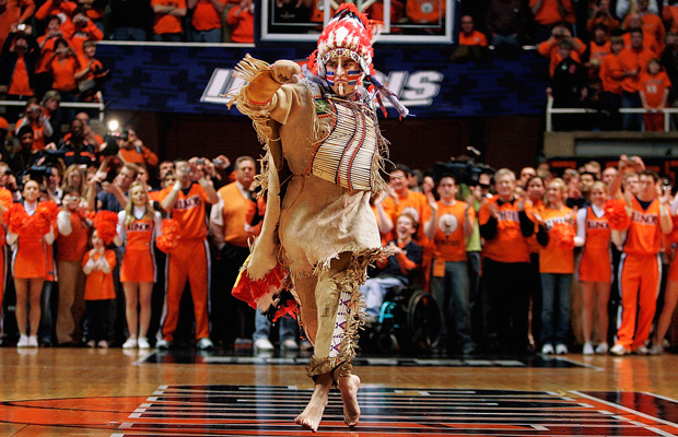 University of Illinois mascot Chief Illiniwek performs for the last time during an Illinois basketball game in Champaign, Illinois, February 21, 2007.