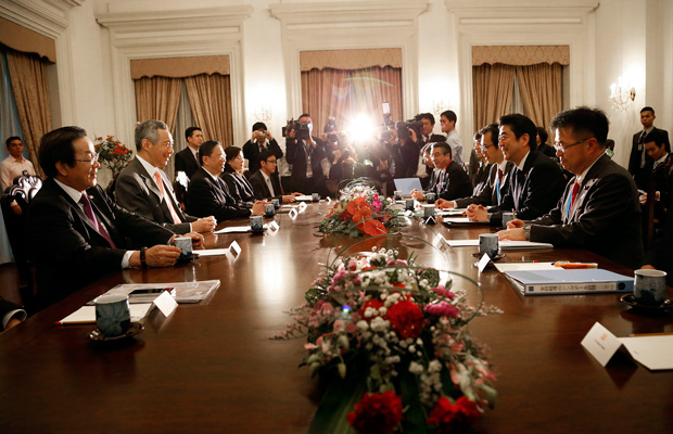 Officials attend a bilateral meeting at the Asia Security Summit in Singapore, known as the Shangri-La Dialogue, May 31, 2014.