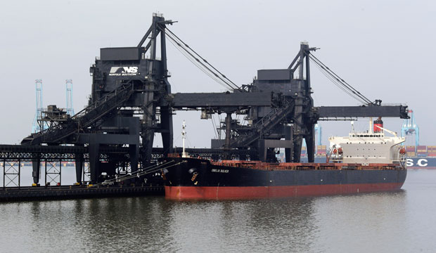 A ship is docked at Norfolk Southern's Lamberts Point coal terminal in Norfolk, Virginia, May 22, 2014.