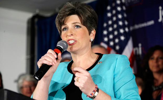 State Sen. Joni Ernst speaks to supporters at a primary election night rally after winning the Republican nomination for the U.S. Senate, Tuesday, June 3, 2014, in Des Moines, Iowa.