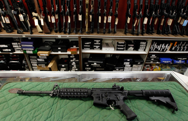 An AR-15 style rifle is displayed at the Firing-Line indoor range and gun shop in Aurora, Colorado.