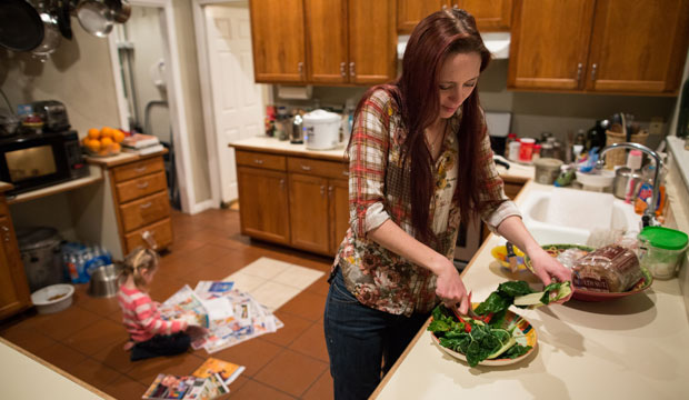Maggie Barcellano, who lives with her father, enrolled in the Supplemental Nutrition Assistance Program to help save for paramedic training while she raises her three-year-old daughter.
