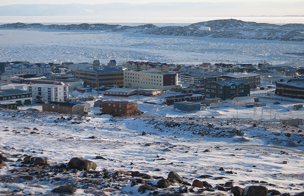 The town of Iqaluit, Canada, about 200 miles south of the Arctic Circle, is seen in February 2007.