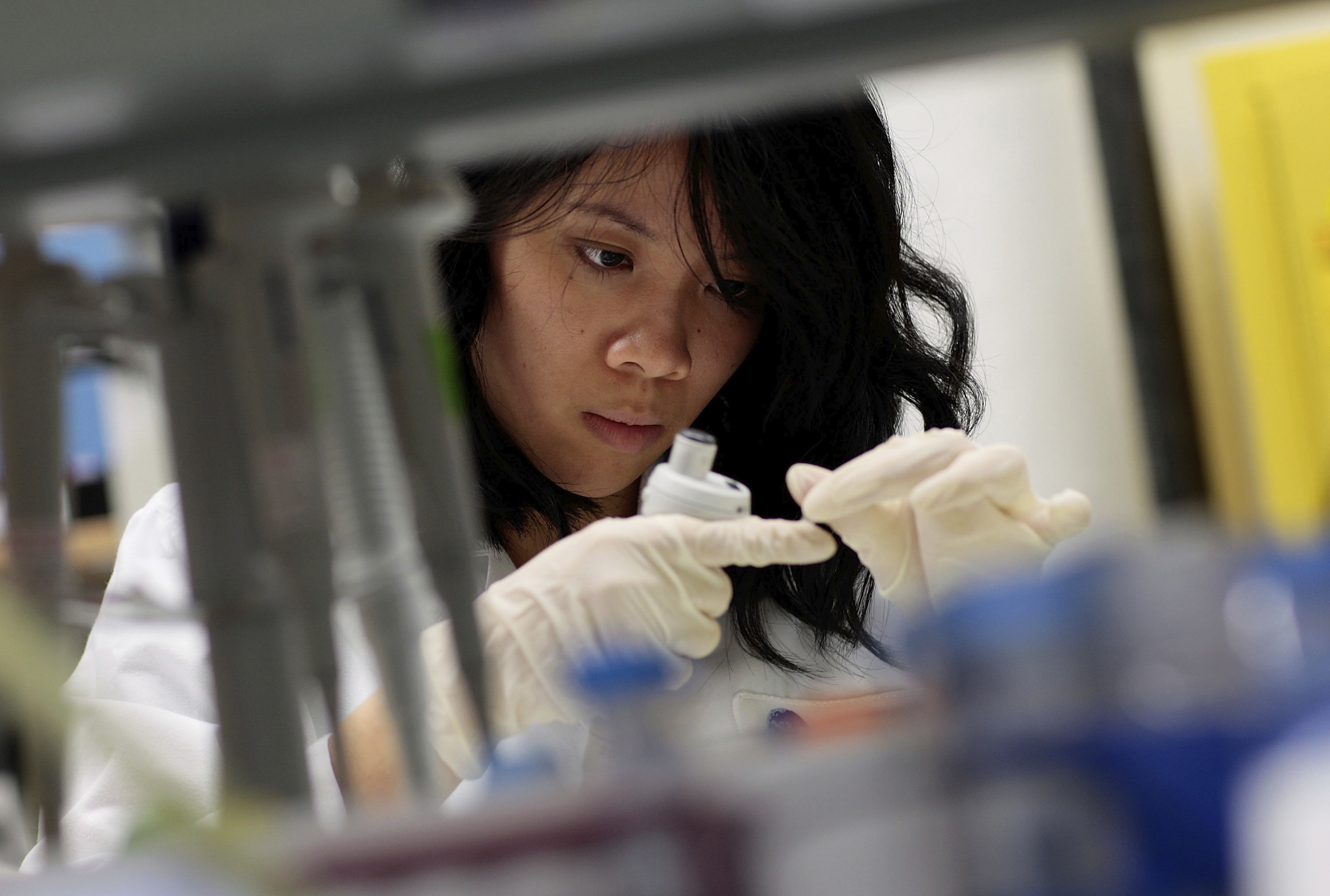 Hanh Nguyen, an intern with the Immunogen Design Group, works at the AIDS Vaccine Design and Development Laboratory in New York City.