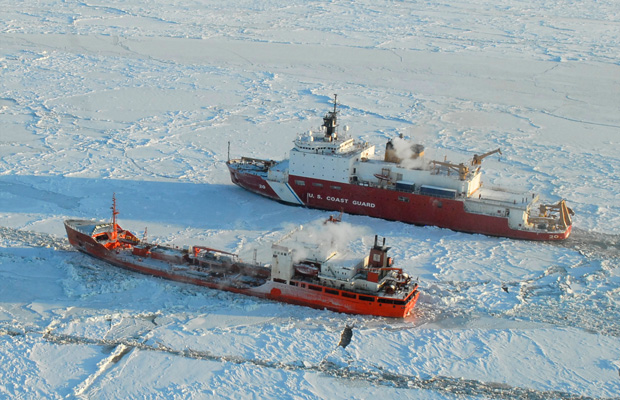 The Coast Guard Cutter Healy breaks ice 250 miles south of Nome, Alaska.