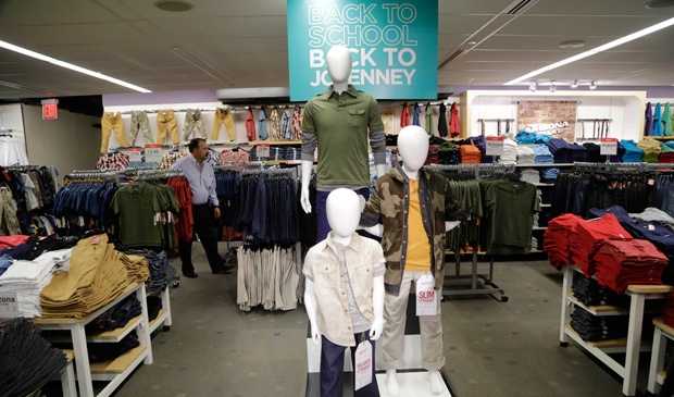 Back-to-school fashions are displayed at J.C. Penney's in New York's Times Square.