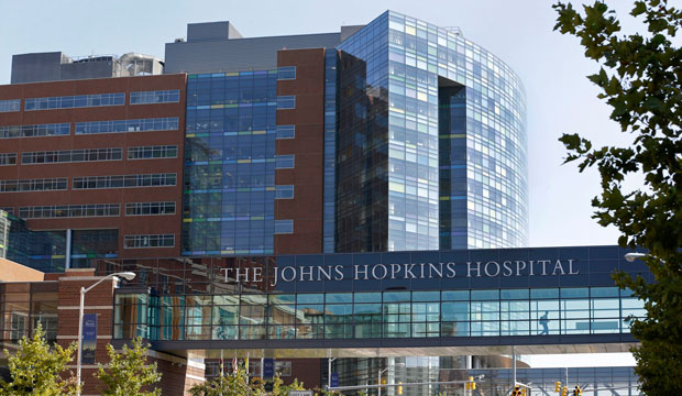 The Johns Hopkins Hospital complex is seen in Baltimore, Maryland, October 2013.