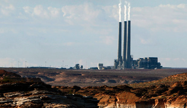 The main plant facility at the Navajo Generating Station, as seen from Lake Powell in Page, Arizona.