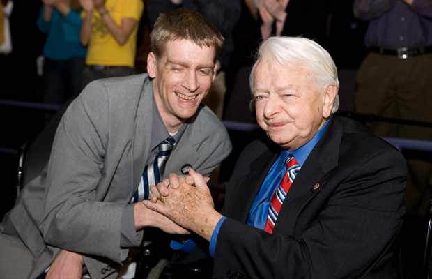 "Tomas Young and the late Sen. Robert Byrd (D-WV) attend the the Reel Progress screening of ""Body of War,"" April 2008."