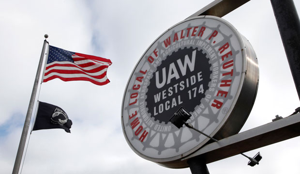 The United Automobile Workers Local 174 sign outside their building in Romulus, Michigan, March 2013.