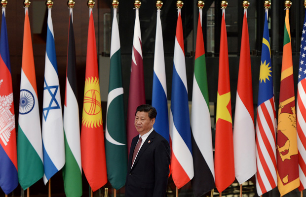 Chinese President Xi Jinping welcomes leaders before the opening ceremony at the fourth Conference on Interaction and Confidence Building Measures in Asia summit in Shanghai, China, May 2014.