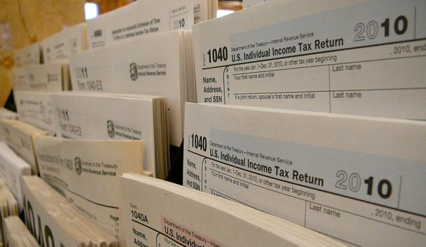 Tax forms are displayed at the Public Library of Brookline in Brookline, Massachusetts.