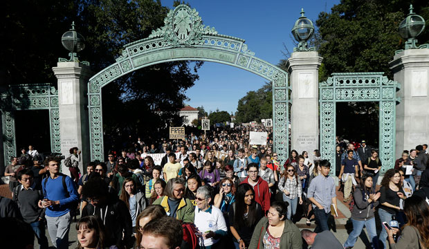 Students protesting tuition hikes in the University of California system staged walkouts at multiple campuses, Berkeley, California, November 24, 2014.