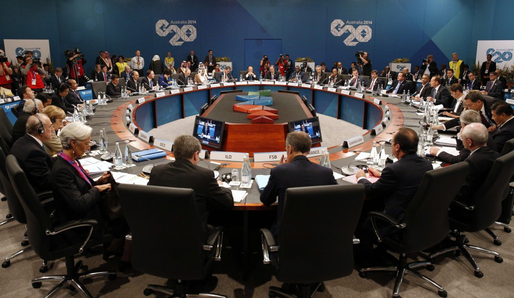Leaders meet at the first plenary session at the G-20 summit in Brisbane, Australia, on November 15, 2014.