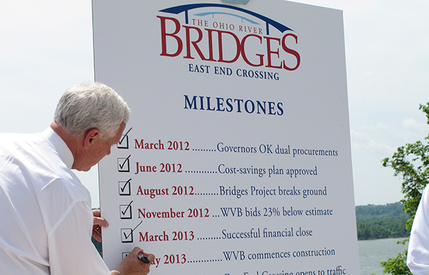 Indiana Gov. Mike Pence (R) crosses off another milestone on May 29, 2013, for a new Ohio River bridge that will connect Kentucky and Indiana just east of Louisville, Kentucky.