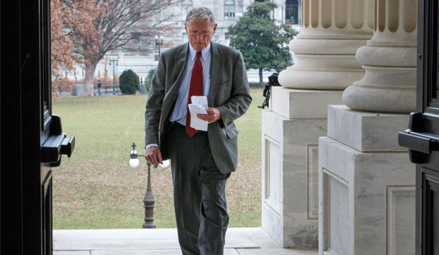 Sen. James Inhofe (R-OK), the chairman of the Senate Environmental Committee, arrives for work at the Capitol in Washington, December 4, 2014.