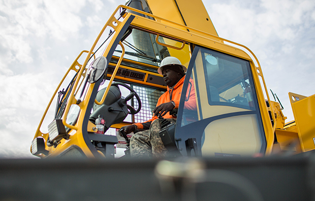 Former student Nathaniel Simmons operates a crane during a day of training at Georgia College of Construction, November 25, 2014.