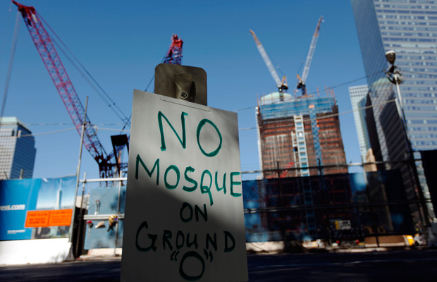 A sign opposing the proposed Park51 community center near ground zero is seen in New York.