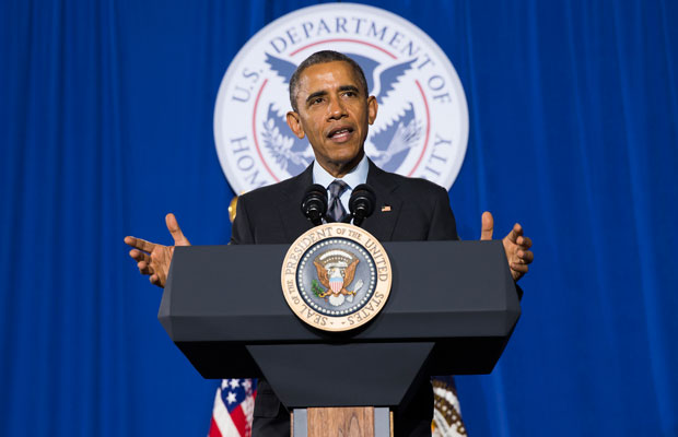 President Barack Obama delivers remarks at the Department of Homeland Security on his fiscal year 2016 budget proposal.