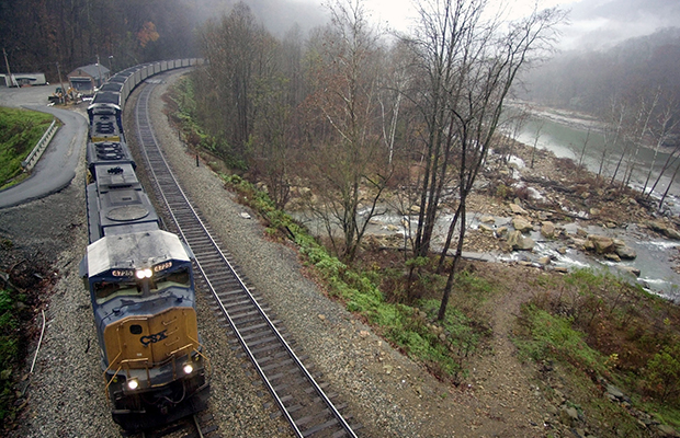 A train loaded with coal winds its way into the mountains near the New River at Cotton Hill in Fayette County, West Virginia, November 2004.