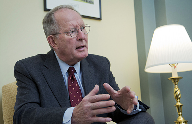 Sen. Lamar Alexander (R-TN) is shown speaking during an interview on Capitol Hill in Washington, November 14, 2014.