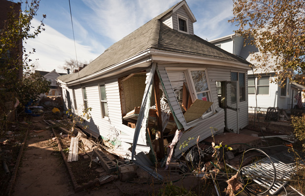 A house in Staten Island, New York, destroyed by Hurricane Sandy.