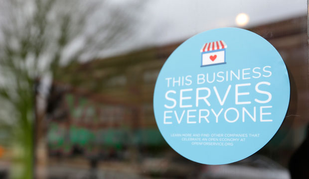 A window sticker on a downtown Indianapolis business shows its objection to a discriminatory bill passed by the Indiana Legislature on March 25, 2015.
