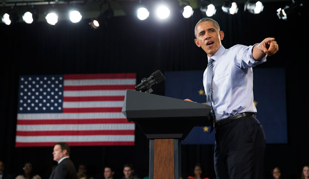 President Barack Obama gestures during a speech in Indianapolis on February 6, 2015 about his budget proposal to make two years of community college free.