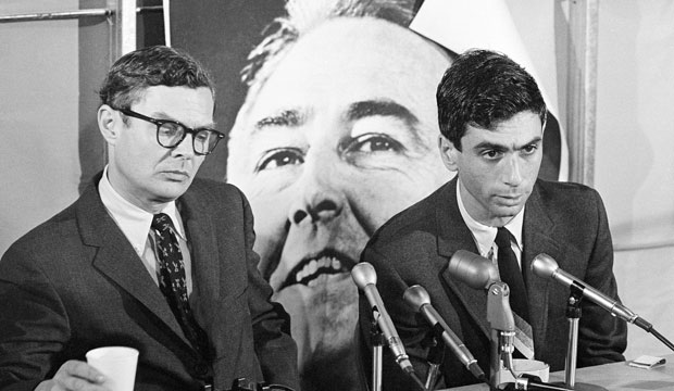 Curtis Gans, right, speaks during a press conference on May 20, 1968, as the national political operations director for Sen. Eugene McCarthy's (D-MN) presidential campaign.