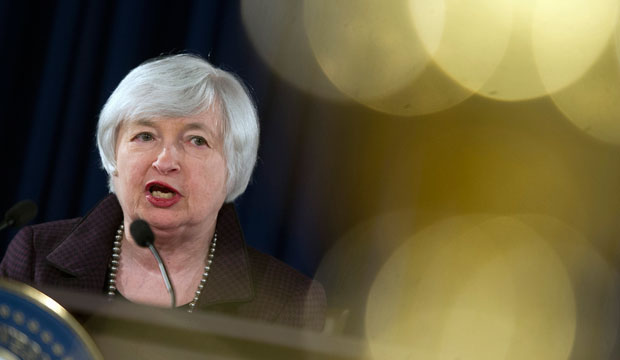 Federal Reserve Chair Janet Yellen makes a statement on jobs and the economic outlook on December 17, 2014.