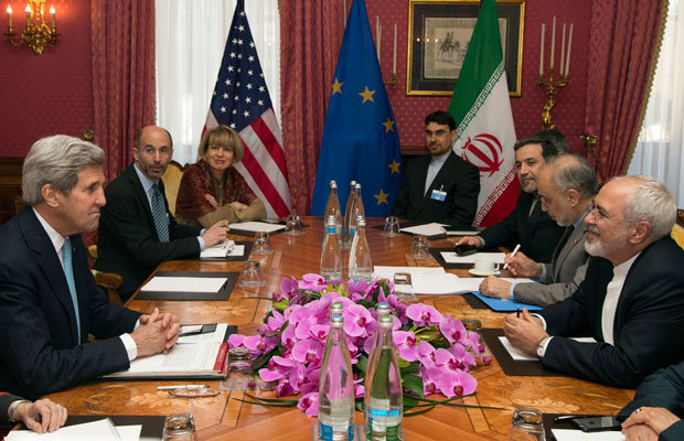 U.S. Secretary of State John Kerry and Iran's Foreign Minister Mohammad Javad Zarif discuss Iran's nuclear program in Lausanne, Switzerland.