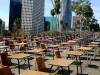 School desks block a street in front of the Los Angeles Unified School District headquarters.
