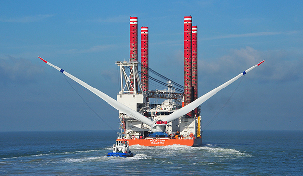 This photo shows the windcarrier vessel Bold Tern, contracted to build Rhode Island's Block Island offshore wind energy facility beginning in summer 2015.