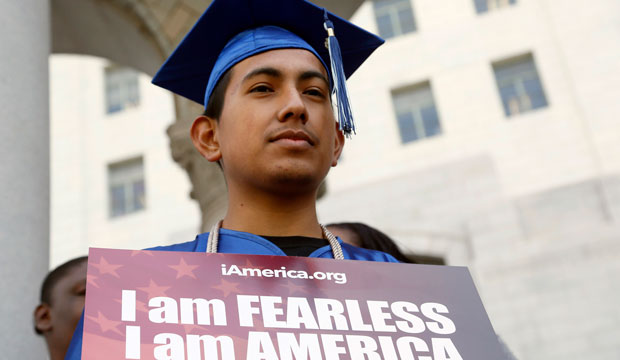 Immigrant Jose Montes attends an event on immigration reform in downtown Los Angeles on February 17, 2015.