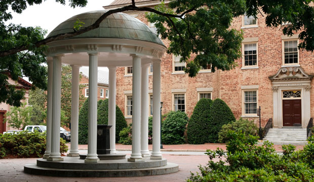 The inconic Old Well appears on the campus of the University of North Carolina at Chapel Hill.