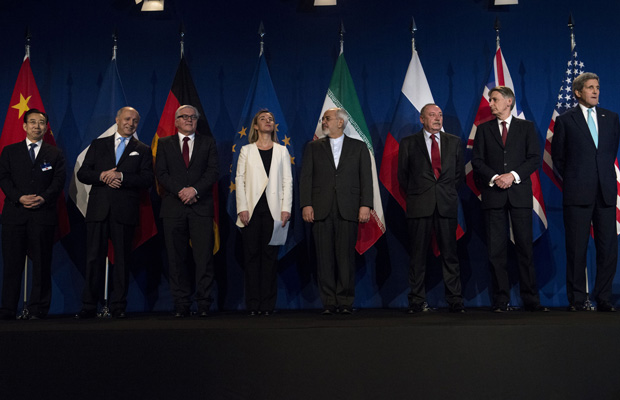 Representatives from world powers are seen in Lausanne, Switzerland, on April 2, 2015, after Iran nuclear program talks finished.