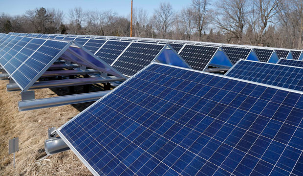 Solar panels that are part of the Wright-Hennepin Cooperative Electric Association's community gardens are shown in Rockford, Minnesota.