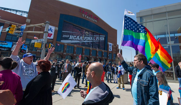 Opponents of the Indiana Religious Freedom Restoration Act march outside Lucas Oil Stadium, site of the NCAA Final Four, in Indianapolis on April 4, 2015.