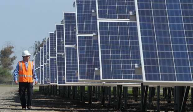 A renewable energy manager walks past solar panels near Vacaville, California, in April 2011.