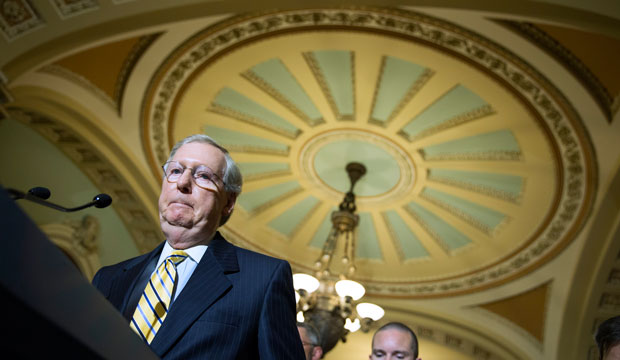 Senate Majority Leader Mitch McConnell on Capitol Hill in Washington, D.C., May 19, 2015.
