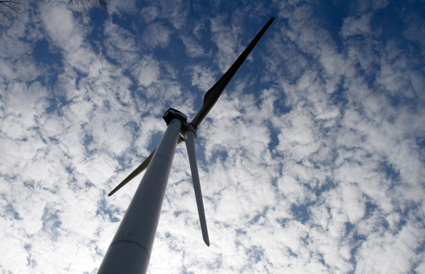 A wind turbine is seen at the First Wind project in Sheffield, Vermont.