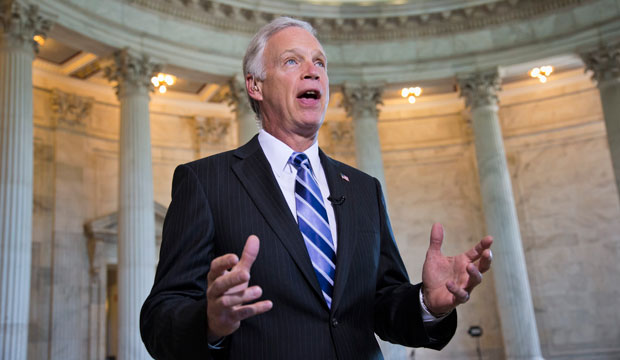Sen. Ron Johnson (R-WI) speaks during a broadcast interview on Capitol Hill in September 2013.