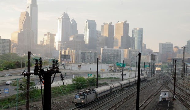 An Amtrak train travels northbound from Philadelphia's 30th Street Station on May 18, 2015.