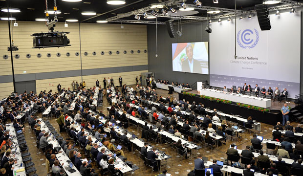 Delegates attend the U.N. Framework Convention on Climate Change in Bonn, Germany, Monday, June 1, 2015.